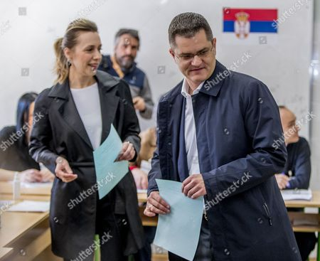 Presidential candidate and former president of the United Nations General Assembly, Vuk Jeremic (R) and his wife Natasa prepare to vote during the Serbian Presidential elections, at a polling station in Belgrade, Serbia, 02 April 2017. Eleven candidates are running for the office of the President of the republic of Serbia, the term of office that will last five years and begin from the day of taking of the oath before the National Assembly.