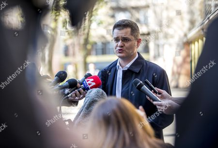 Presidential candidate and former president of the United Nations General Assembly, Vuk Jeremic briefs press after voting during the Serbian Presidential elections, at a polling station in Belgrade, Serbia, 02 April 2017. Eleven candidates are running for the office of the President of the republic of Serbia, the term of office that will last five years and begin from the day of taking of the oath before the National Assembly.