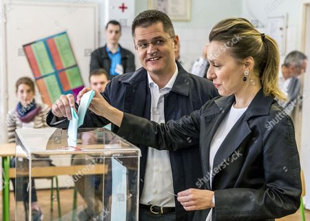 Presidential candidate and former president of the United Nations General Assembly, Vuk Jeremic  (L) and his wife Natasa cast the ballots at a polling station in Belgrade, Serbia, 02 April 2017. Eleven candidates are running for the office of the President of the republic of Serbia, the term of office that will last five years and begin from the day of taking of the oath before the National Assembly.