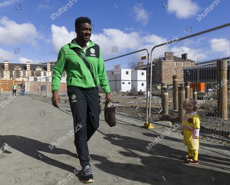 Kolo Toure of Celtic walks from the team bus before the SPFL Ladbrokes Premiership match between Heart of Midlothian & Celtic at Tynecastle, Edinburgh on 2nd April