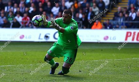 Victor Valdes of Middlesbrough makes a save during the Premier League match between Swansea City and Middlesbrough played at The Liberty Stadium, Swansea on 2nd April 2017
