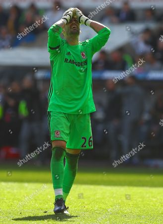 Victor Valdes of Middlesbrough shows a look of dejection after a missed chance during the Premier League match between Swansea City and Middlesbrough played at The Liberty Stadium, Swansea on 2nd April 2017