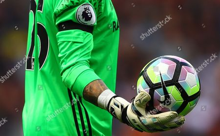 Victor Valdes of Middlesbrough holds the Nike matchball during the Premier League match between Swansea City and Middlesbrough played at The Liberty Stadium, Swansea on 2nd April 2017