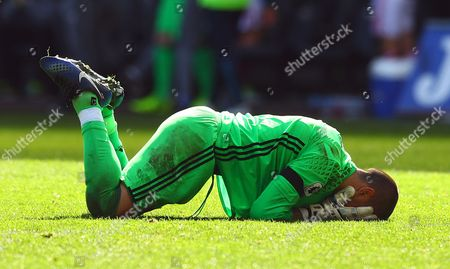 Victor Valdes of Middlesbrough drops to the floor in shock after a late missed chance during the Premier League match between Swansea City and Middlesbrough played at The Liberty Stadium, Swansea on 2nd April 2017