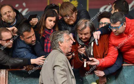 Genoa's President Enrico Preziosi talks with journalists at the end of the Italian Serie A soccer match Genoa CFC vs Atalanta BC at Luigi Ferraris stadium in Genoa, Italy, 02 April 2017.