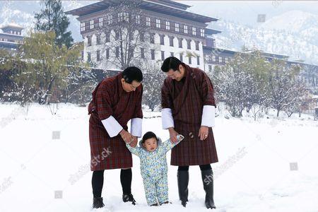 King Jigme Khesar Wangchuck with his son Crown Prince Jigme Namgyel Wangchuck and his father the former King Jigme Singye Wangchuck