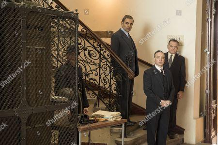 'Maigret - Night at the Crossroads' - Rowan Atkinson as Maigret, Kevin McNally as Grandjean and Aidan McArdle as Judge Cormeliau.