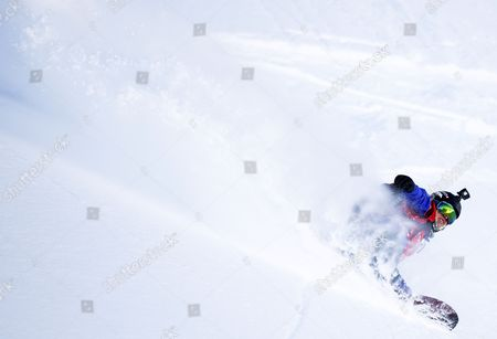 Stock Picture of Anne-Flore Marxer of Switzerland, winner in the snowboard women category, in action during the 'Xtreme de Verbier', the last stage of the Freeride World Tour (FWT) contest on the 'Bec des Rosses' mountain in Verbier, Switzerland, 03 April 2017.