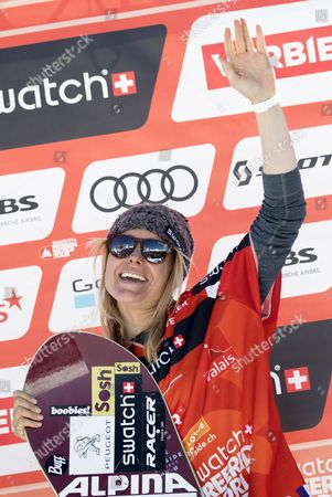 Anne-Flore Marxer of Switzerland, winner in the snowboard women category, celebrates her victory during the podium ceremony of the 'Xtreme de Verbier', the last stage of the Freeride World Tour (FWT) contest on the 'Bec des Rosses' mountain in Verbier, Switzerland, 03 April 2017.