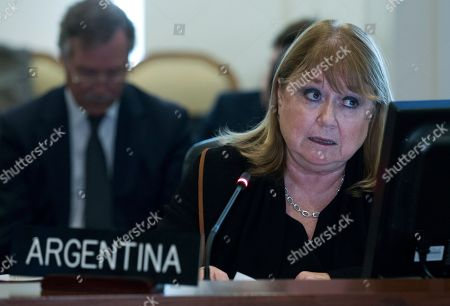 Argentina's Foreign Minister Susana Malcorra speaks at the Permanent Council of the Organization of American States (OAS) in Washington, to consider the recent events in Venezuela