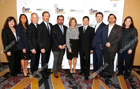 Stock Picture of Katie Couric, Kathleen Lobb, Sung Poblete, Luis A. Diaz, Zhenghe Wang, Charles S. Fuchs, Lewis Cantley, Margaret Foti, Ryan B. Corcoran Left to right, AACR CEO Dr. Margaret Foti, SU2C President Sung Poblete, Colorectal Cancer Dream Team Co-Leads Dr. Charles S. Fuchs, Dr. Lewis Cantley, Dr. Luis A. Diaz, SU2C Co Founder Katie Couric, Colorectal Cancer Dream Team Co-Lead Dr. Zhenghe Wang, Researcher Ryan B. Corcoran, SU2C researcher, and SU2C Co-Founder Kathleen Lobb at the Colorectal Cancer Dream Team and 2017 IRG Recipient announcement on at the Marriott Marquis Hotel in Washington, DC
