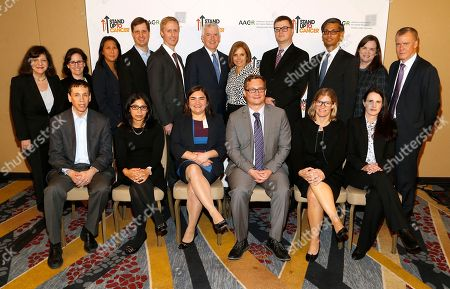 Katie Couric, Dr. David M. Barrett, Dr. Rizwan Haq, Dr. Gregory L. Beatty, Dr. Meenakshi G. Hegde, Dr. Marcela V. Maus, Dr. John T. Wilson, Dr. Jennifer A. Wargo, Dr. Marie Bleakley, Dr. Margaret Foti, Kathleen Lobb, Dr. Christopher Boerner Back row, left to right, CEO of AACR Dr. Margaret Foti, Dr. Julie Hambleton of BMS, Stand Up To Cancer (SU2C) President Sung Poblete, Dr. Michael D. Farwell, Dr. Daniel A. Bachovchin, Dr. Thomas Lynch of BMS, Journalist and SU2C Co-Founder Katie Couric, Dr. David M. Barrett, Dr. Rizwan Haq, SU2C Co-Founder Kathleen Lobb, Dr. Christopher Boerner of BMS, front row, left to right, Dr. Gregory L. Beatty, Dr. Meenakshi G. Hegde, Dr. Marcela V. Maus, Dr. John T. Wilson, Dr. Jennifer A. Wargo, and Dr. Marie Bleakley, recipients of the 2017 SU2C Innovative Research Grants on at the Marriott Marquis Hotel in Washington, DC
