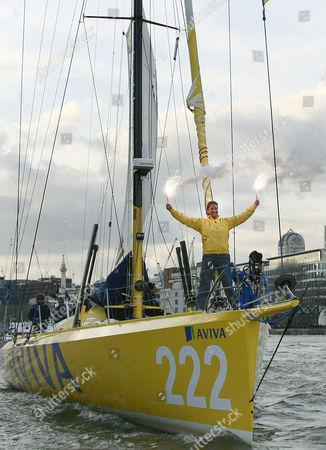 Dee Caffari on her yacht Aviva