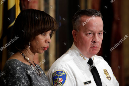 Catherine Pugh, Kevin Davis Baltimore Police Department Commissioner Kevin Davis, right, speaks alongside Baltimore Mayor Catherine Pugh at a news conference at City Hall in Baltimore, in response to the Department of Justice's request for a 90-day delay of a hearing on its proposed overhaul of the Baltimore Police Department