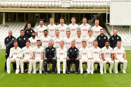Stock Photo of Surrey Team Portrait  (Back Row L-R), Natalie Greening, Mark Footitt, Freddie van den Bergh, Dominic Sibley, Conor McKerr, Mathew Pillans, Matthew Dunn, (Middle Row L-R), Rob Ahmun, Vikram Solanki,  Amar Virdi, Ravi Rampaul,  Mark Stoneman, Scott Borthwick, Sam Curran, Ollie Pope, Alex Tysoe, Stuart Barnes, (Front Row L-R), Ben Foakes, Zafar Ansari, Jade Dernbach, Michael Di Venuto, Gareth Batty, Alec Stewart, Rory Burns, Stuart Meaker, Kumar Sangakkara, Tom Curran, portrait during the Surrey CCC Photocall 2017 at the Oval, London