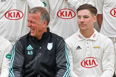 Alec Stewart OBE shares a joke during the Surrey CCC Photocall 2017 at the Oval, London