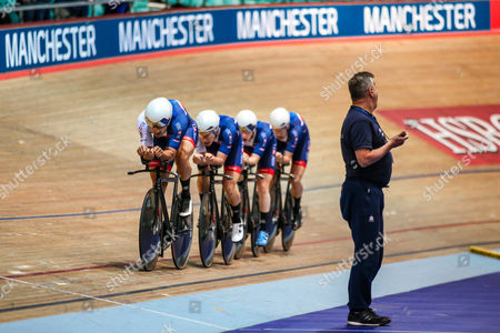 Great Britain's Men's Team Pursuit in action during a training session. Andy Tennant, Kian Emadi, Ollie Wood and Mark Stewart.