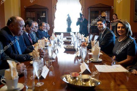 Paul Ryan, Abdel Fattah Al-Sisi, Nancy Pelosi House Speaker Paul Ryan of Wis., second from right, and House Minority Leader Nancy Pelosi of Calif., right, meet with Egyptian President Abdel Fattah Al-Sisi on Capitol Hill in Washington