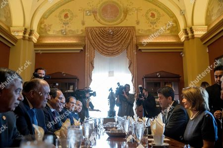Paul Ryan, Abdel Fattah Al-Sisi, Nancy Pelosi House Speaker Paul Ryan of Wis., second from right, and House Minority Leader Nancy Pelosi of Calif., right, meet with Egyptian President Abdel Fattah Al-Sisi, third from left, on Capitol Hill in Washington