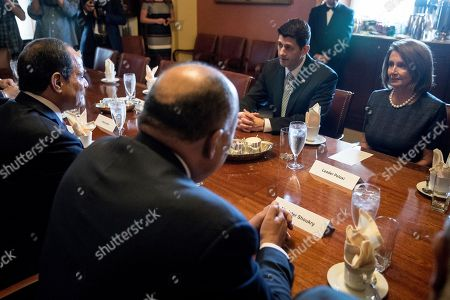 Paul Ryan, Abdel Fattah Al-Sisi, Nancy Pelosi House Speaker Paul Ryan of Wis., second from right, and House Minority Leader Nancy Pelosi of Calif., right, meet with Egyptian President Abdel Fattah Al-Sisi, left, in Ryan's office on Capitol Hill in Washington