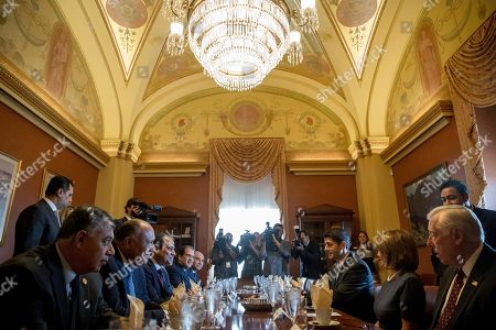 Paul Ryan, Abdel Fattah Al-Sisi, Nancy Pelosi, Steny Hoyer House Speaker Paul Ryan of Wis., third from right, House Minority Leader Nancy Pelosi of Calif., second from right, and House Minority Whip Steny Hoyer of Md., right, meet with Egyptian President Abdel Fattah Al-Sisi, third from left, on Capitol Hill in Washington