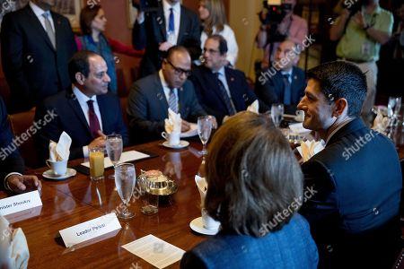Paul Ryan, Abdel Fattah Al-Sisi, Nancy Pelosi House Speaker Paul Ryan of Wis., right, and House Minority Leader Nancy Pelosi of Calif., foreground, meet with Egyptian President Abdel Fattah Al-Sisi, left, on Capitol Hill in Washington