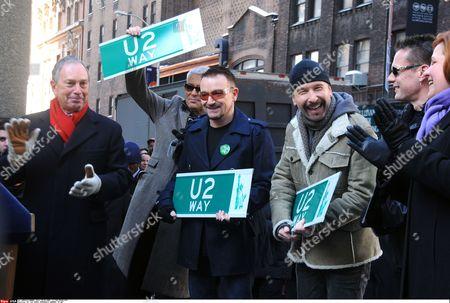 Mayor Michael Bloomberg with U2 - Adam Clayton, Bono, the Edge and Larry Mullen Jnr