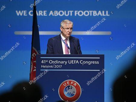 Olli Rehn during The 41st Ordinary UEFA Congress at the Fair Centre Messukeskus