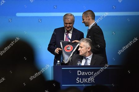 Stock Picture of Olli Rehn, Aleksander Ceferin and Davor Suker during The 41st Ordinary UEFA Congress at the Fair Centre Messukeskus