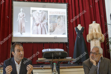"""Eloy Martinez de la Pera Celada (L) curator of the exhibition, speaks next to Salvatore Gervasi (R) director of Expo Fondation Bolle, right, during the presentation of the exhibition """"Audrey Hepburn & Hubert de Givenchy: une elegante amitie"""", in Morges, Switzerland, 05 April 2017. The exhibition """"Audrey Hepburn & Hubert de Givenchy: une elegante amitie"""" (English: """"Audrey Hepburn & Hubert Givenchy: """"An elegant friendship"""") will take place from May 20 to September 17, 2017, at the Expo Fondation Bolle in Morges."""