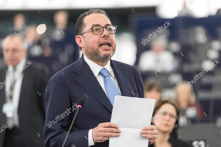 President of the European Socialists and Democrats group Gianni Pittella speaks during a session at the European Parliament in Strasbourg, eastern France,. European Union lawmakers on Wednesday passed a resolution calling for phased negotiations in divorce proceedings with Britain, going against the wishes of London, which would like exit talks and discussions of a future trade arrangement to happen in parallel