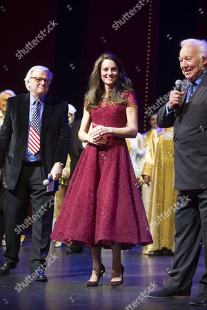 Catherine Duchess of Cambridge with Producers Lord Michael Grade and Michael Linnit at the end of the show