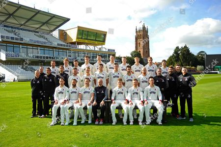 County Championship team photo - (Back Row) Roelof van der Merwe, Dom Bess, Ryan Davies, Ben Green, Adam Hose, Paul van Meekeren, Michael Leask, George Bartlett, Josh Davey, Johann Myburgh, (Middle Row) Chris Rogers (Batting Coach), Gary Metcalfe (Physiotherapist), Steve Snell (2nd XI Coach and Academy Director), Jason Kerr (Bowling and Fielding Coach), Steven Davies, Max Waller, Jamie Overton, Craig Overton, Tim Groenewald, Jack Leach, Darren Veness (Head of Strength and Conditioning), Jamie Thorpe (Lead Physiotherapist, Andrew Griffiths (Performance Analyst), Paul Tweddle (Fielding Coach), (Front Row) Lewis Gregory, Peter Trego, Marcus Trescothic, Matt Maynard (Director of Cricket), Tom Abell (Captain), James Hildreth and Jim Allenby during the Somerset County Cricket Club PhotoCall 2017 at the Cooper Associates County Ground, Taunton