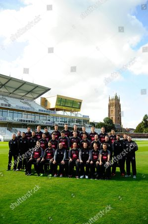Royal London One-Day Cup team photo - (Back Row) Roelof van der Merwe, Dom Bess, Ryan Davies, Ben Green, Adam Hose, Paul van Meekeren, Michael Leask, George Bartlett, Josh Davey, Johann Myburgh, (Middle Row) Chris Rogers (Batting Coach), Gary Metcalfe (Physiotherapist), Steve Snell (2nd XI Coach and Academy Director), Jason Kerr (Bowling and Fielding Coach), Steven Davies, Tom Abell, Jamie Overton, Craig Overton, Tim Groenewald, Jack Leach, Darren Veness (Head of Strength and Conditioning), Jamie Thorpe (Lead Physiotherapist, Andrew Griffiths (Performance Analyst), Paul Tweddle (Fielding Coach) (Front Row) Lewis Gregory, Peter Trego, Matt Maynard (Director of Cricket), Jim Allenby (Capt), Marcus Trescothic, Max Waller and James Hildreth.  during the Somerset County Cricket Club PhotoCall 2017 at the Cooper Associates County Ground, Taunton