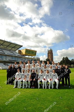 County Championship team photo - (Back Row) Roelof van der Merwe, Dom Bess, Ryan Davies, Ben Green, Adam Hose, Paul van Meekeren, Michael Leask, George Bartlett, Josh Davey, Johann Myburgh, (Middle Row) Chris Rogers (Batting Coach), Gary Metcalfe (Physiotherapist), Steve Snell (2nd XI Coach and Academy Director), Jason Kerr (Bowling and Fielding Coach), Steven Davies, Max Waller, Jamie Overton, Craig Overton, Tim Groenewald, Jack Leach, Darren Veness (Head of Strength and Conditioning), Jamie Thorpe (Lead Physiotherapist, Andrew Griffiths (Performance Analyst), Paul Tweddle (Fielding Coach), (Front Row) Lewis Gregory, Peter Trego, Marcus Trescothick, Matt Maynard (Director of Cricket), Tom Abell (Captain), James Hildreth and Jim Allenby during the Somerset County Cricket Club PhotoCall 2017 at the Cooper Associates County Ground, Taunton
