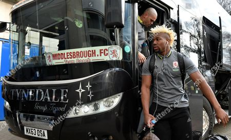 Stock Photo of Adama Traore of Middlesbrough and Goalkeeper Victor Valdes arrive for the Premier League match between Hull City and Middlesbrough played at The KCOM Stadium, Hull on Wednesday the 5th of April 2017