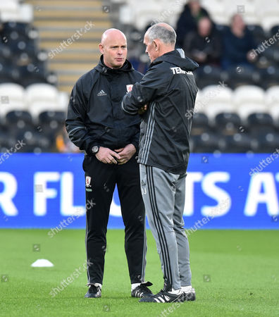 Manager Steve Agnew of Middlesbrough with coach Joe Jordan before the Premier League match between Hull City and Middlesbrough played at The KCOM Stadium, Hull on Wednesday the 5th of April 2017