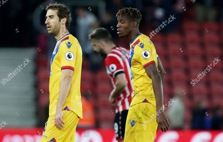 Mathieu Flamini and Wilfried Zaha of Crystal Palace look dejected after the Premier League match between Southampton and Crystal Palace played at St Mary's Stadium, Southampton on 5th April 2017