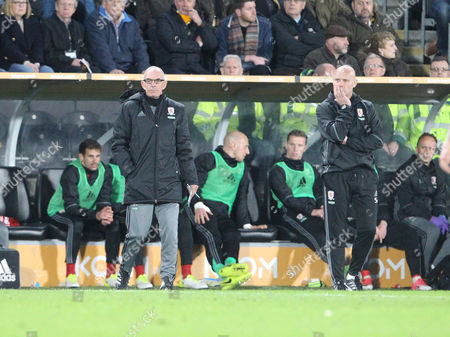 Middlesbrough's Attacking Coach Joe Jordan and Middlesbrough's Head Coach Steve Agnew during the Premier League match between Hull City and Middlesbrough on Wednesday 5th April 2017 at The KCOM Stadium, Hull