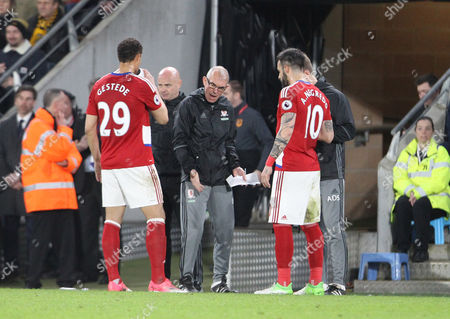 Middlesbrough's Attacking Coach Joe Jordan giving instructions to Middlesbrough's Rudy Gestede and Álvaro Negredo during the Premier League match between Hull City and Middlesbrough on Wednesday 5th April 2017 at The KCOM Stadium, Hull