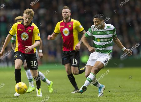 Emilio Izaguirre of Celtic plays the ball ahead of Andrew McCarthy of Partick Thistle during the SPFL Ladbrokes Premiership match between Celtic & Partick Thistle at Celtic Park, Glasgow on 5th April