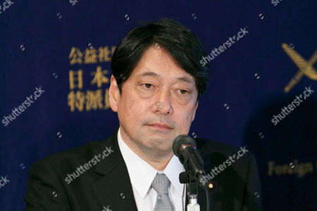 Former Defense Minister Itsunori Onodera attends a press conference at the Foreign Correspondents' Club of Japan, Tokyo, Japan. The former ministers Onodera and Gen Nakatani spoke about the KN-15 missile launched by North Korea this morning into the Sea of Japan, and called on Prime Minister Shinzo Abe's administration to take a stronger position against North Korean provocations.