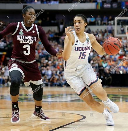 Gabby Williams, Breanna Richardson Mississippi State forward Breanna Richardson (3) guards as Connecticut guard Gabby Williams (15) handles the ball during an NCAA college basketball game in the semifinals of the women's Final Four, in Dallas