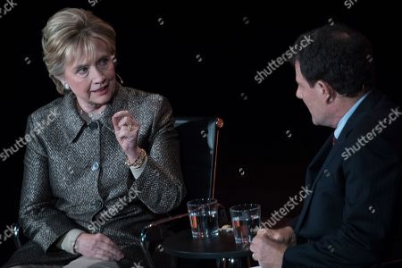 Hillary Clinton, Nicholas Kristof Former Secretary of State Hillary Clinton speaks to Nicholas Kristof during the Women in the World Summit at Lincoln Center in New York