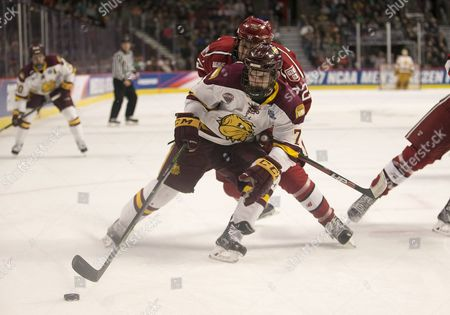 Minnesota Duluth forward Adam Johnson (7) skates with the puck as Harvard forward Phil Zielonka (72) back checks during NCAA Hockey Frozen Four game action between the Minnesota-Duluth Bulldogs and the Harvard Crimson at United Center in Chicago, Illinois