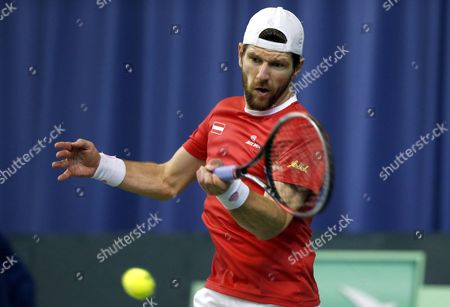 Juergen Melzer of Austria in action against Ilya Ivashka of Belarus during the second round of Davis Cup World Group between Belarus and Austria in Minsk, Belarus, 07 April 2017.