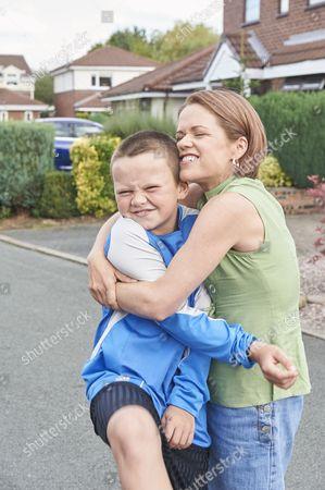Stock Image of Sinead Keenan as Mel Jones and Sonny Beyga as Rhys Jones.