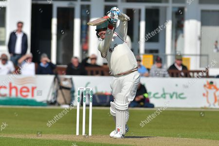 Clint McKay drives Stuart Broad (not shown) during the Specsavers County Champ Div 2 match between Leicestershire County Cricket Club and Nottinghamshire County Cricket Club at the Fischer County Ground, Grace Road, Leicester