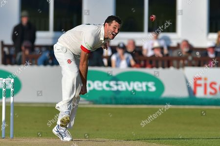 Clint McKay following through during the Specsavers County Champ Div 2 match between Leicestershire County Cricket Club and Nottinghamshire County Cricket Club at the Fischer County Ground, Grace Road, Leicester