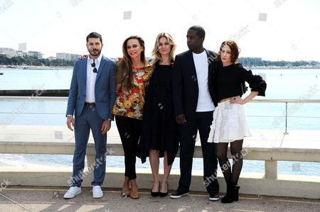 Dimitri Leonidas, Lena Olin, Julia Stiles, Adrian Lester and Roxane Duran during a photocall to present 'Riviera'